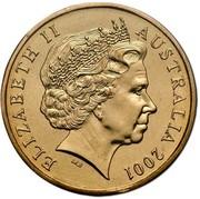 Australia One Dollar Navy Anniversary 2001 KM# 588 ELIZABETH II AUSTRALIA 2001 IRB coin obverse
