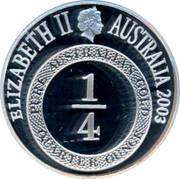 Australia One Dollar Port Phillip Patterns 2003 KM# 763 ELIZABETH II AUSTRALIA 2003 IRB PURE AUSTRALIAN GOLD 1/4 QUARTER OUNCE coin obverse