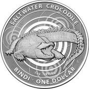 Australia One Dollar Saltwater Crocodile - Bindi 2013 KM# 2013 SALTWATER CROCODILE 1 OZ .999 AG BINDI - ONE DOLLAR coin reverse