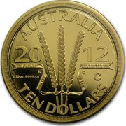 Australia Ten Dollars Wheat Sheaf Dollar 2012 KM# 2019 AUSTRALIA 2012 K C 1/10OZ.9999AU TEN DOLLARS coin reverse