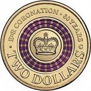 Australia Two Dollars Coronation Jubilee 2013 KM# 2153 E II R CORONATION 60 YEARS C TWO DOLLARS coin reverse