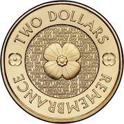 Australia Two Dollars Remembrance Day 2012 KM# 2007 TWO DOLLARS LEST WE FORGET REMEMBANCE DAY REMEMBRANCE coin reverse