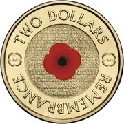 Australia Two Dollars Remembrance Day (Colorized) 2012 KM# 2007A TWO DOLLARS LEST WE FORGET REMEMBRANCE DAY REMEMBRANCE coin reverse