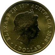 Australia 1 Dollar 150 Years of Australian Football 2008 P ELIZABETH II ∙ AUSTRALIA 2008 ∙ 1 DOLLAR ∙ coin obverse