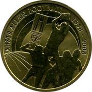 Australia 1 Dollar 150 Years of Australian Football 2008 P AUSTRALIAN FOOTBALL 1858-2008 AUSTRALIAN FOOTBALL 150 YEARS P coin reverse