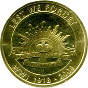 Australia 1 Dollar 90th Anniversary of the End of WWI 2008 LEST WE FORGET AUSTRALIAN COMMONWEALTH MILITARY FORCES WWI 1918-2008 coin reverse