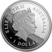 Australia 1 Dollar Australian Antarctic Territory - Humpback Whale 2008 Proof ELIZABETH II AUSTRALIA 1 DOLLAR coin obverse