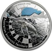 Australia 1 Dollar Australian Antarctic Territory - Humpback Whale 2008 Proof AUSTRALIAN ANTARCTIC TERRITORY HUMPBACK WHALE:2008 1 OZ 99.9 SILVER coin reverse