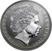 Australia 1 Dollar Australian Kangaroo 2001 KM# 590 ELIZABETH II AUSTRALIA 2001 IRB coin obverse