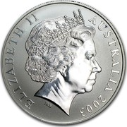 Australia 1 Dollar Australian Kangaroo 2003 KM# 798 ELIZABETH II AUSTRALIA 2003 IRB coin obverse