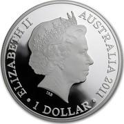 Australia 1 Dollar Australian Kangaroo 2010 F15 Privy Mark KM# 1762 ELIZABETH II AUSTRALIA 2011 1 DOLLAR IRB coin obverse