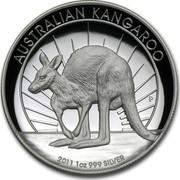 Australia 1 Dollar Australian Kangaroo 2011 KM# 1605 AUSTRALIAN KANGAROO 2011 1 OZ 999 SILVER P coin reverse