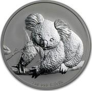 Australia 1 Dollar Australian Koala on a branch 2010 KM# 1464 1 OZ 999 SILVER P coin reverse