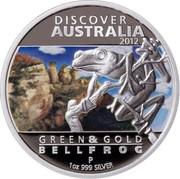 Australia 1 Dollar Discover Australia - Bell Frog 2012 KM# 1706 DISCOVER AUSTRALIA 2012 GREEN & GOLD BELL FROG P 1 OZ 999 SILVER WR coin reverse