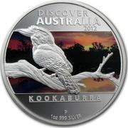 Australia 1 Dollar Discover Australia - Kookaburra 2012 KM# 1708 DISCOVER AUSTRALIA 2012 KOOKABURRA P 1 OZ 999 SILVER TV coin reverse
