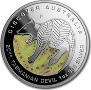 Australia 1 Dollar Discover Australia - Tasmanian Devil 2011 KM# 1540 DISCOVER AUSTRALIA 2011 TASMANIAN DEVIL 1 OZ 999 SILVER P DB coin reverse