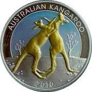 Australia 1 Dollar Kangaroo in color 2010 Proof KM# 1516 AUSTRALIAN KANGAROO 2010 coin reverse