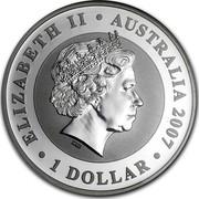 Australia 1 Dollar Koala 2007 ELIZABETH AUSTRALIA 2007 1 DOLLAR coin obverse