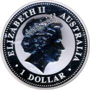 Australia 1 Dollar Kookaburra admiring spider web 2009 KM# 1295 ELIZABETH II AUSTRALIA 1 DOLLAR IRB coin obverse