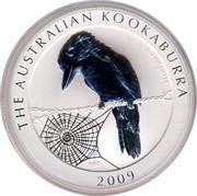 Australia 1 Dollar Kookaburra admiring spider web 2009 KM# 1295 THE AUSTRALIAN KOOKABURRA 1 OZ 999 SILVER 2009 P20 coin reverse