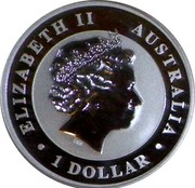 Australia 1 Dollar Kookaburra on a branch 2010 KM# 1471 ELIZABETH II AUSTRALIA 1 DOLLAR IRB coin obverse