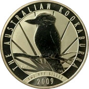 Australia 1 Dollar Kookaburra with sunburst on a background 2009 KM# 1296 AUSTRALIAN KOOKABURRA 1 OZ 999 SILVER 2009 P20 coin reverse