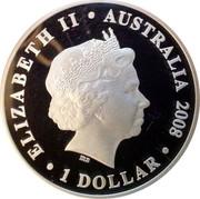 Australia 1 Dollar Prince Charles 60th Birthday 2008 ELIZABETH II AUSTRALIA 2008 1 DOLLAR coin obverse
