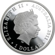 Australia 1 Dollar Royal Wedding 2011 KM# 1530 ELIZABETH II AUSTRALIA 2011 1 DOLLAR IRB coin obverse