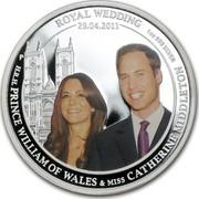 Australia 1 Dollar Royal Wedding 2011 KM# 1530 ROYAL WEDDING 29.04.2011 H.R.H. PRINCE WILLIAM OF WALES & MISS CATHERINE MIDDLETON 1 OZ 999 SILVER P coin reverse