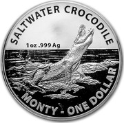 Australia 1 Dollar Saltwater Crocodile - Monty 2016 Frosted Unc SALTWATER CROCODILE 1 OZ .999 AG MONTY - ONE DOLLAR TD coin reverse