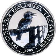 Australia 1 Dollar The Australian Kookaburra 2009 KM# 1285 THE AUSTRALIAN KOOKABURRA 1 OZ. 999 SILVER 2009 P20 coin reverse