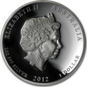 Australia 1 Dollar Year of the Dragon 2012 KM# 1713 ELIZABETH II AUSTRALIA 1 OZ 999 SILVER 2012 1 DOLLAR IRB coin obverse
