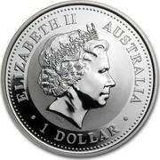 Australia 1 Dollar Year of the Horse 2002 KM# 580 ELIZABETH II AUSTRALIA 1 DOLLAR IRB coin obverse
