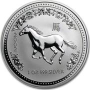 Australia 1 Dollar Year of the Horse 2002 KM# 580 2002 1 OZ 999 SILVER coin reverse