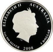 Australia 1 Dollar Year of the Mouse 2008 KM# 1755 ELIZABETH II AUSTRALIA 1 OZ 999 SILVER 2008 1 DOLLAR IRB coin obverse
