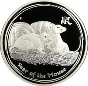 Australia 1 Dollar Year of the Mouse 2008 KM# 1755 YEAR OF THE MOUSE P coin reverse