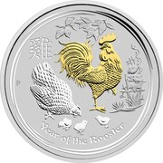 Australia 1 Dollar Year of the Rooster (Gilded) 2017 YEAR OF THE ROOSTER P coin reverse