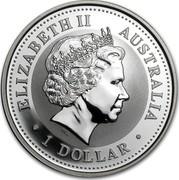 Australia 1 Dollar Year of the Snake 2001 KM# 536 ELIZABETH II AUSTRALIA 1 DOLLAR IRB coin obverse