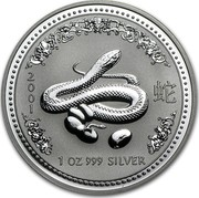 Australia 1 Dollar Year of the Snake 2001 KM# 536 2001 1 OZ 999 SILVER P coin reverse