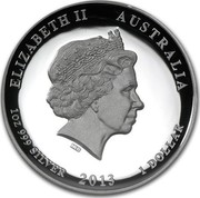 Australia 1 Dollar Year of the Snake 2013 KM# 1827 ELIZABETH II AUSTRALIA 1 OZ 999 SILVER 2013 1 DOLLAR IRB coin obverse