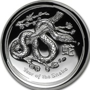 Australia 1 Dollar Year of the Snake 2013 KM# 1827 YEAR OF THE SNAKE P coin reverse
