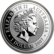 Australia 1 Dollar Year of the Tiger 2007  ELIZABETH II AUSTRALIA IRB ∙ 1 DOLLAR 2007 ∙ coin obverse