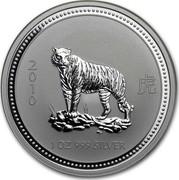 Australia 1 Dollar Year of the Tiger 2007  2010 1OZ 999 SILVER coin reverse