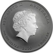 Australia 1 Dollar Year of the Tiger 2010 Proof KM# 1317 ELIZABETH II AUSTRALIA 1 OZ 999 SILVER 2010 1 DOLLAR IRB coin obverse