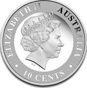 Australia 10 Cents (Australian Kangaroo) ELIZABETH II AUSTRALIA 10 CENTS IRB coin obverse