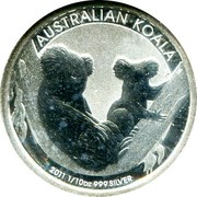 Australia 10 Cents Australian Koala 2011 P Brilliant Uncirculated AUSTRALIAN KOALA P EM 2011 1/10 OZ 999 SILVER coin reverse