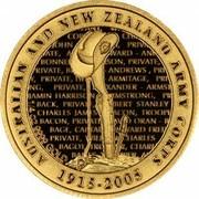 Australia 10 Dollars ANZAC 90th Anniversary 2005 KM# 866 AUSTRALIAN AND NEW ZEALAND ARMY CORPS 1915-2005 4 OZ 9999 GOLD coin reverse
