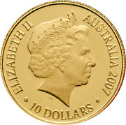 Australia 10 Dollars Ashes 2007 Proof KM# 867 ELIZABETH II AUSTRALIA 2007 10 DOLLARS IRB coin obverse