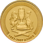 Australia 10 Dollars Ashes 2007 Proof KM# 867 1882-2007 ASHES coin reverse