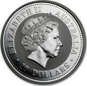 Australia 10 Dollars Australian Kookaburra 2002 KM# 603 ELIZABETH II AUSTRALIA 10 DOLLARS IRB coin obverse